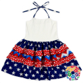 New Patterns 4th Of July Girls Dresses White Navy And Red Girl Child Dress Independence Day Toddler Dress