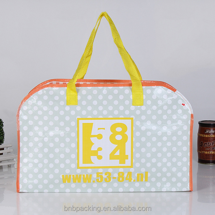 Eco Friendly PP Woven Zipper Bag with Lamination Waterproof Shopping Travelling Promotional Bag
