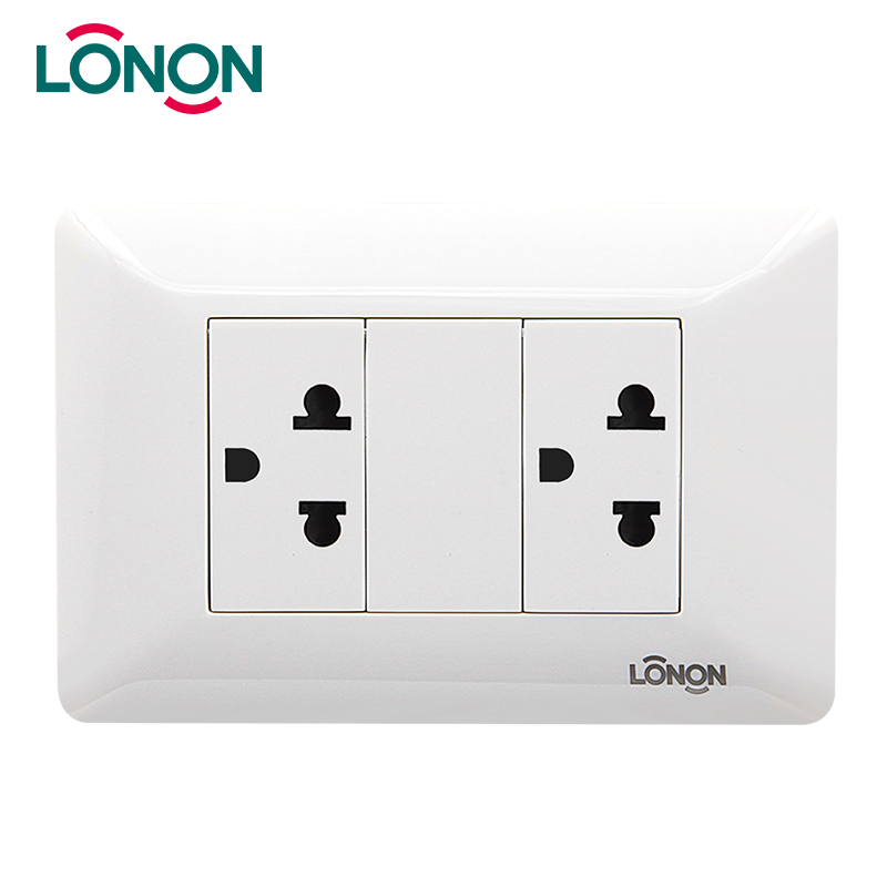 Two Gang US Double 3-Pin Wall Socket Outlet American