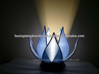 attractive sleeping lamp - iron frame with silk in light blue and lotus shape