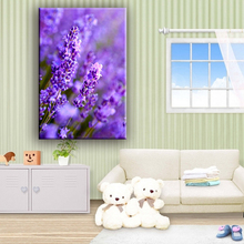 Wholesale purple lavender home decorative flower canvas art painting