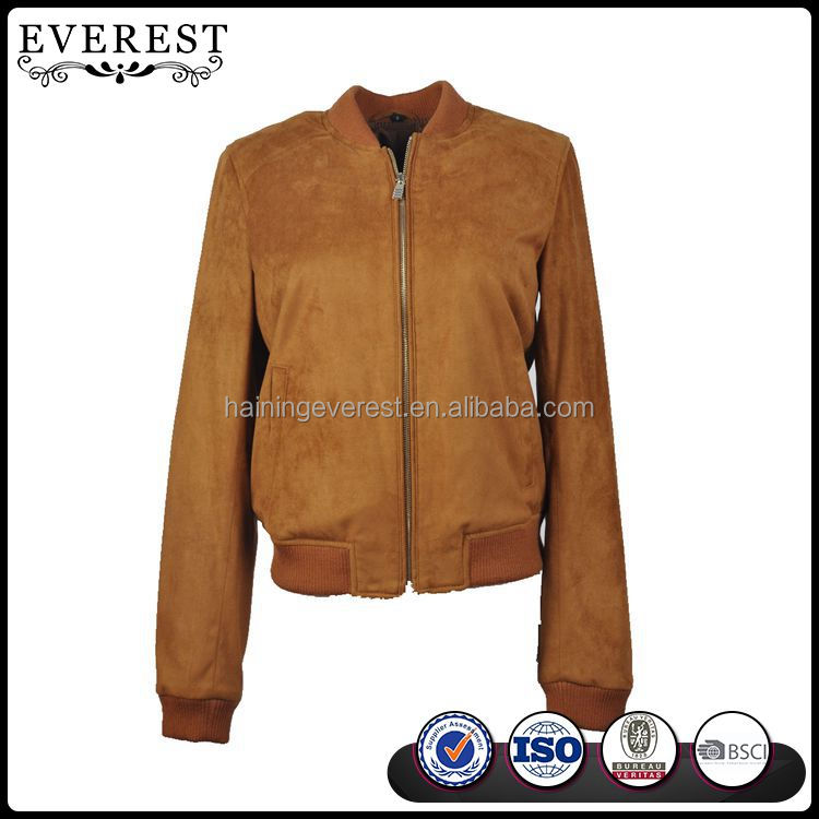 Casual Leather Varsity Jacket For Women Suede Leather Jacket