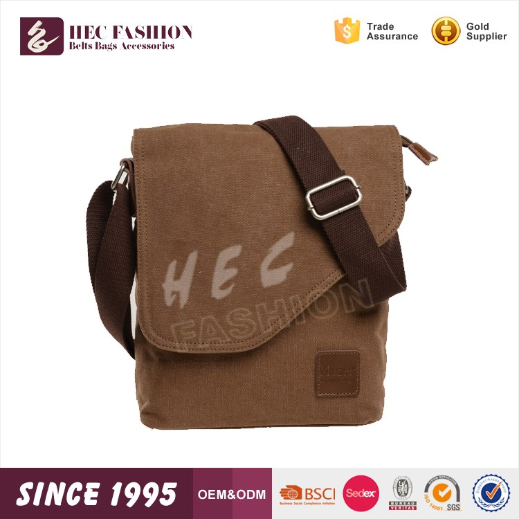 HEC Hot Sale Small Size Chinese Canvas Material Men Long Strap Shoulder Bag