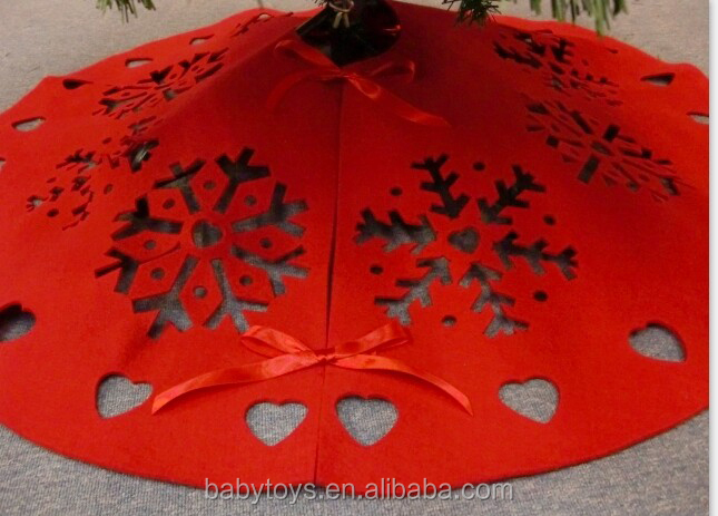 2015 Christmas tree skirt laser cut pattern xmas tree skirt,cheap felt christmas tree skirt