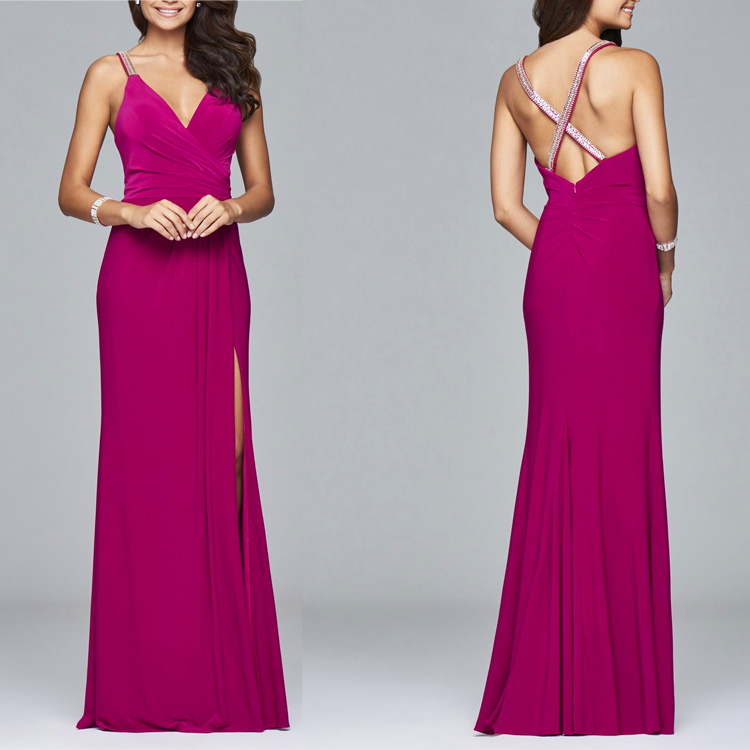 2016 stylish women Coral Beaded fitted bodice and beaded strap evening dress