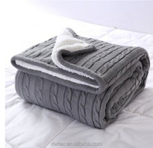 Classic Merino Cable Knit Sweater Throw Blanket with One Side Sherpa