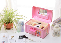 pink plastic makeup and cosmetic carrying jewelry craft supplier storage organizer