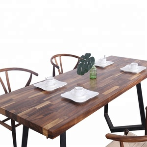 solid walnut wood table and 6 chairs modern splice dining table set