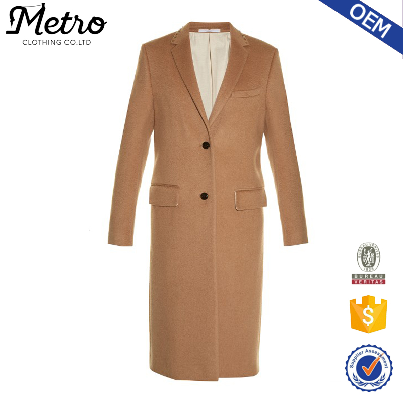 2017 Wholesale Bodycon Mid-Weight Camel Brown Fashion Coats