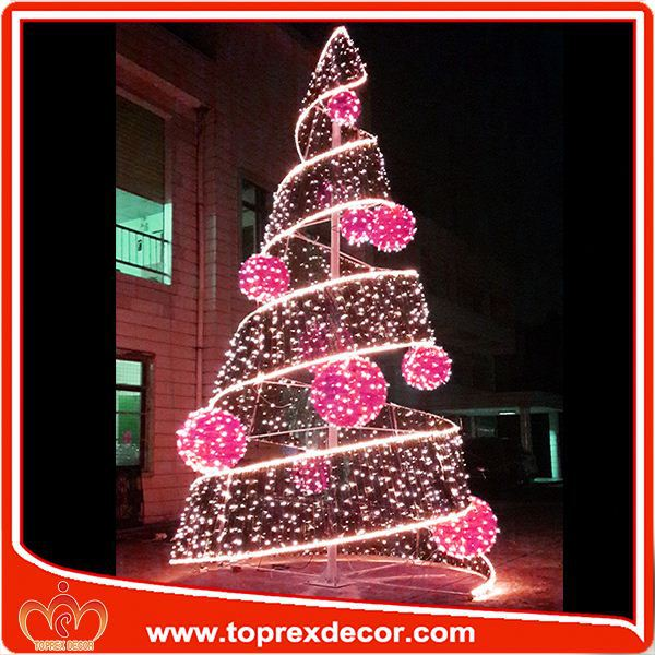 Outdoor fluorescent christmas tree