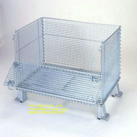 cargo used heavy duty rolling metal wire mesh folding storage cage container