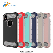 XDDZ for Amazon Hot Sale High Quality for iPhone 8 2 in 1 Soft Carbon TPU + Hard PC Back Shockproof Armor Case