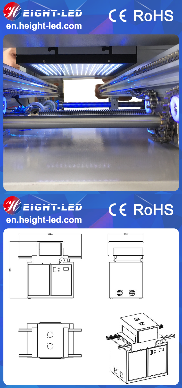 Customized uv led light curing machine with conveyor system