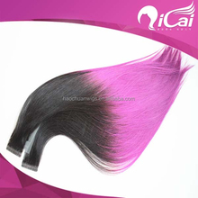 Ali trade assurance paypal accepted Russian virgin remy cuticle hair straight two tone color skin weft hair extensions tape hair