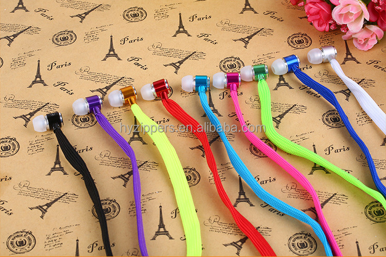 premium gift cheap colorful shoe lace earphones in ear waterproof headphones with mic
