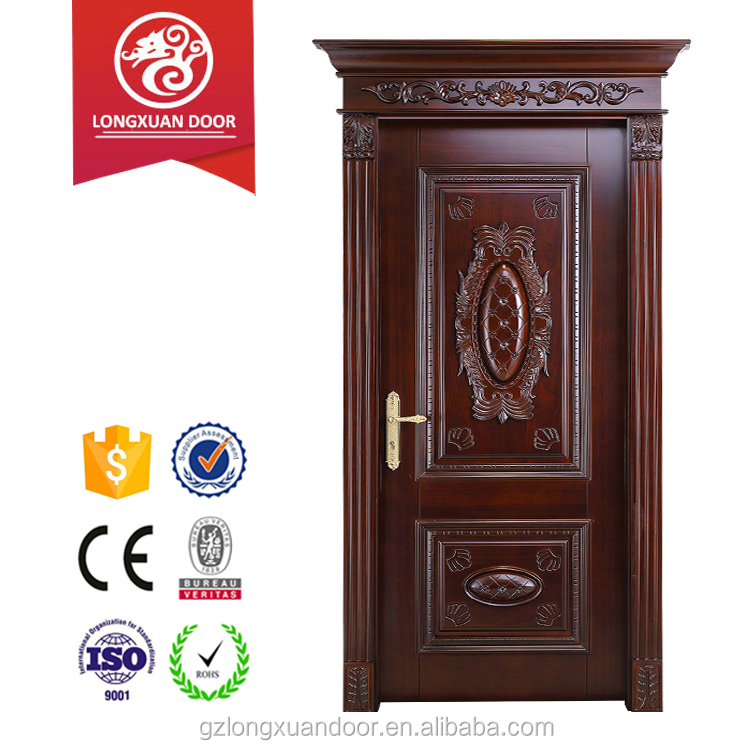 Latest design wooden doors Roman head wood door with flower design