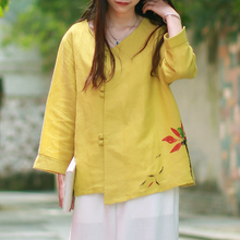 Women 2017 Loose Cotton Linen Hand-Sketching Elegance Blouse Top