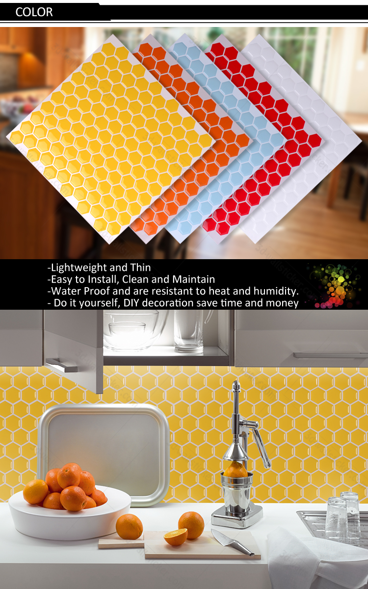 Peel And Stick Stone Look Vinyl Hexagon Wall Tile For Kitchen ...