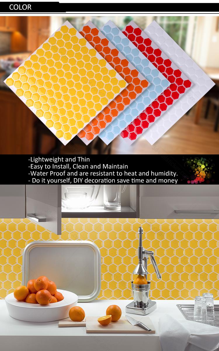 New Arrival Hexagon Mosaic Design Peel And Stick Backsplash Wall ...