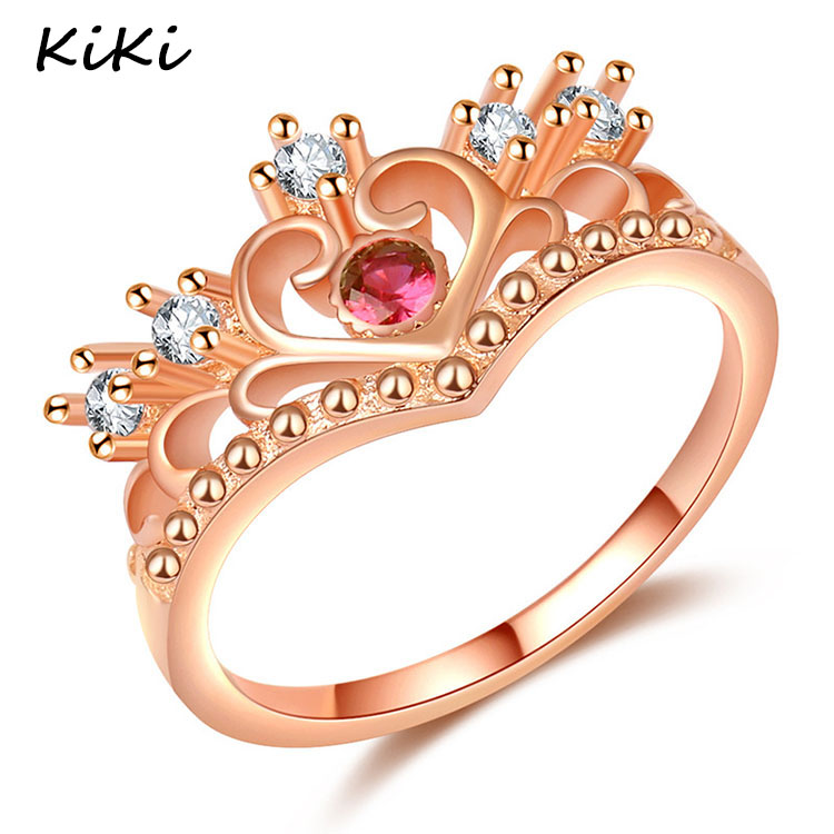 >>>Girls Elegant Bridal Wedding Jewelry Rose Gold Color Crystal Ring Fashion Love Heart Crown Ring for Women