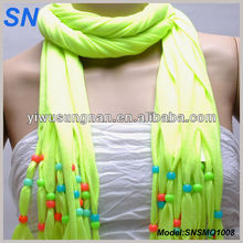Jersy knit Colorful Beaded Women Scarf