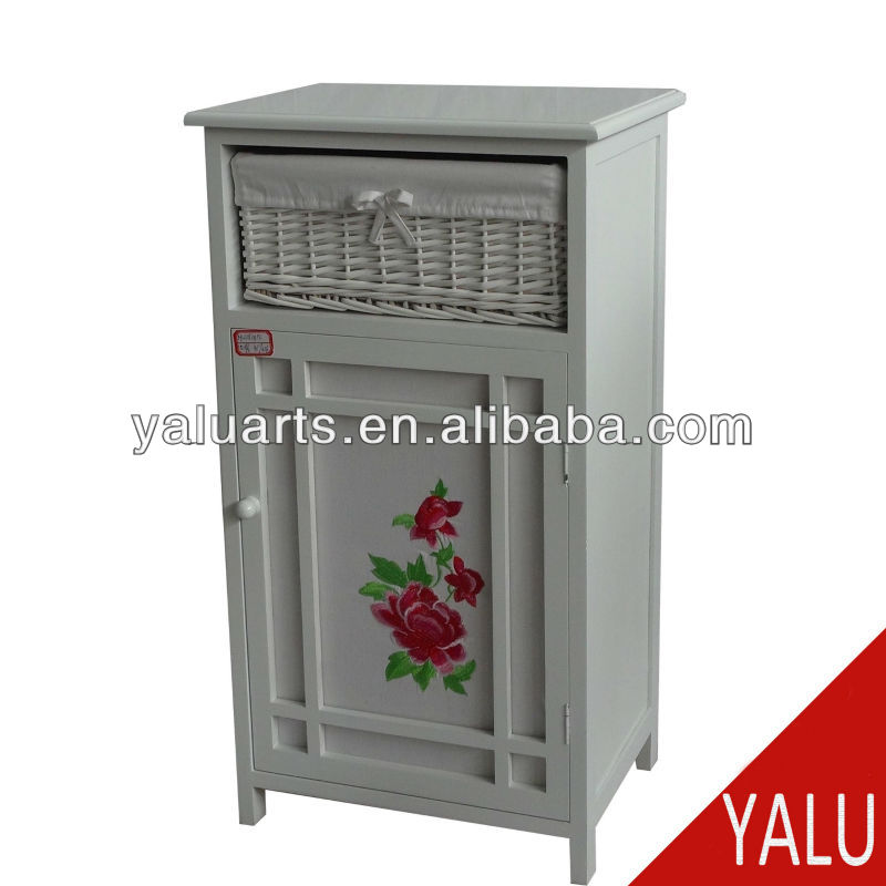 paulownia wood cabinet in wash grey color with split willow drawers and flower liner