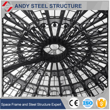 light steel structure glass atrium roof