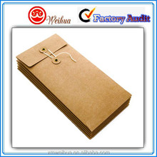 2015 New product recycled paper envelope with string and button tie