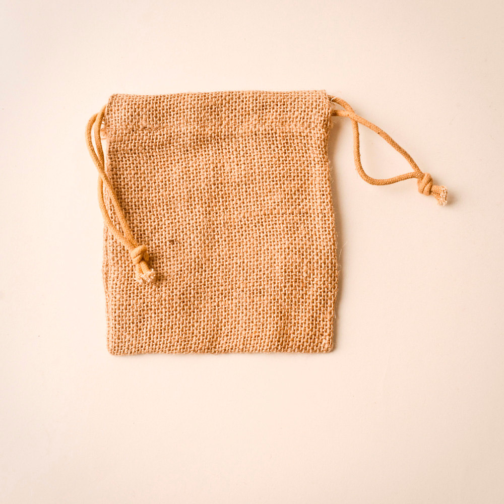 Mini natural jute candy drawstring gift pouch sack