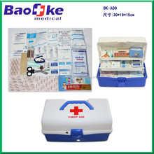 White and blue PP first aid kit/plastic medical box with handle/workplace multideck emergency health care box