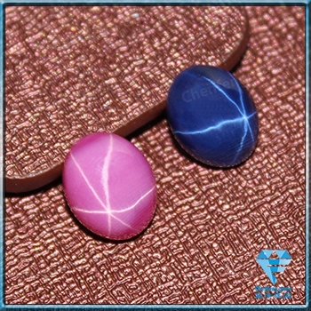 Synthetic Oval Cabochon Flat Bottom Star Ruby and Sapphire Cabochon gems