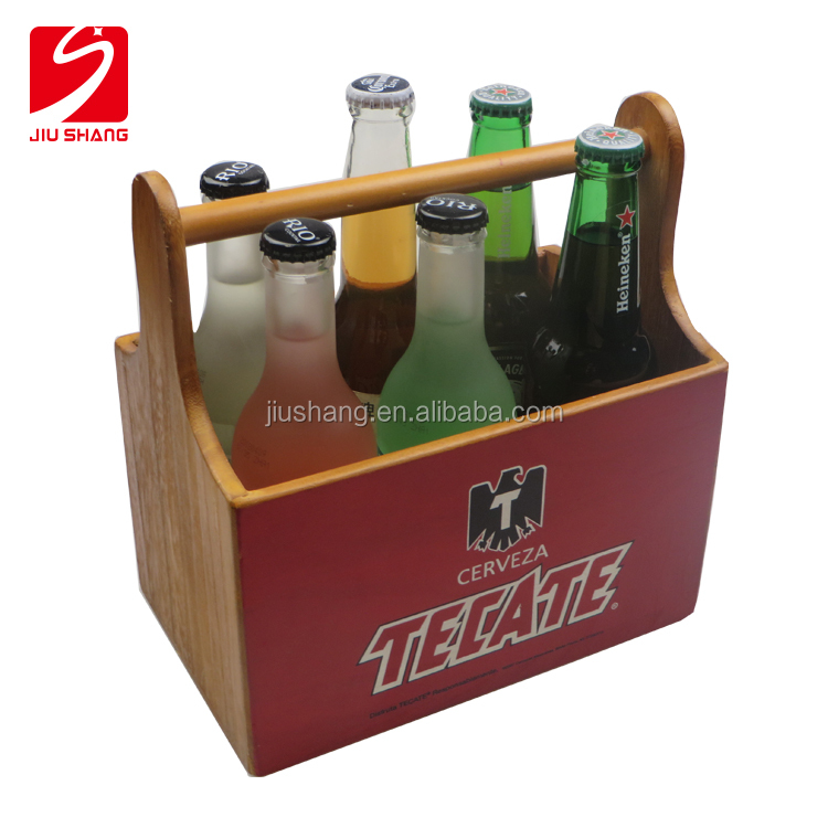 antique paulownia wooden beer bottle holder wine basket with six packs for bar carrier use