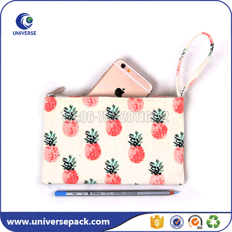 New design fashion canvas mobile phone bag with zipper