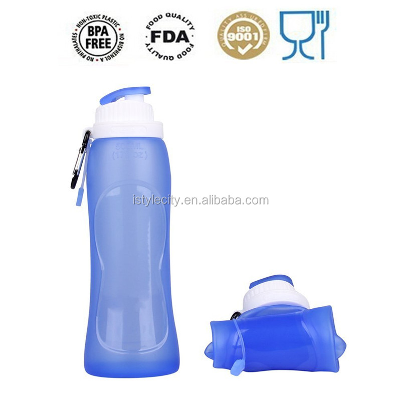 2015 summer hot sale BPA free collapsible water bottles Sports plastic foldable water bottle for logo printing