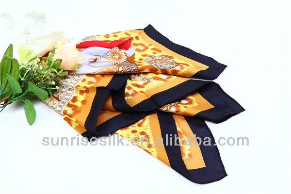 classical pattern silk plain brand scarf