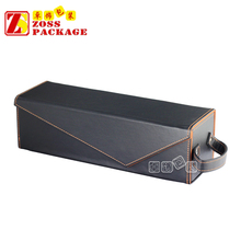 High Quality Individual Black PU Leather Folding Wine Box