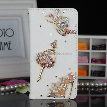 Customized bling bling 3D crystal dancing girl and high heel phone case