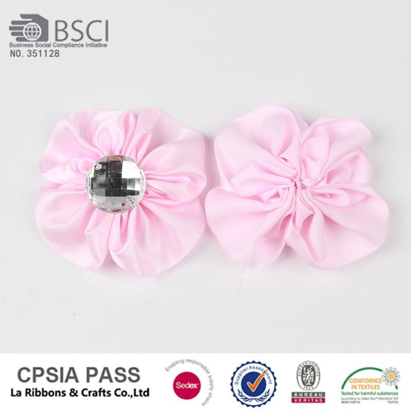 China satin flowers artificial for napkins with acrylic for sale