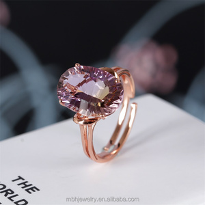 factory wholesale new design trendy purple amethyst natural gemstone ring rose gold plated 925 silver jewelry crystal for women