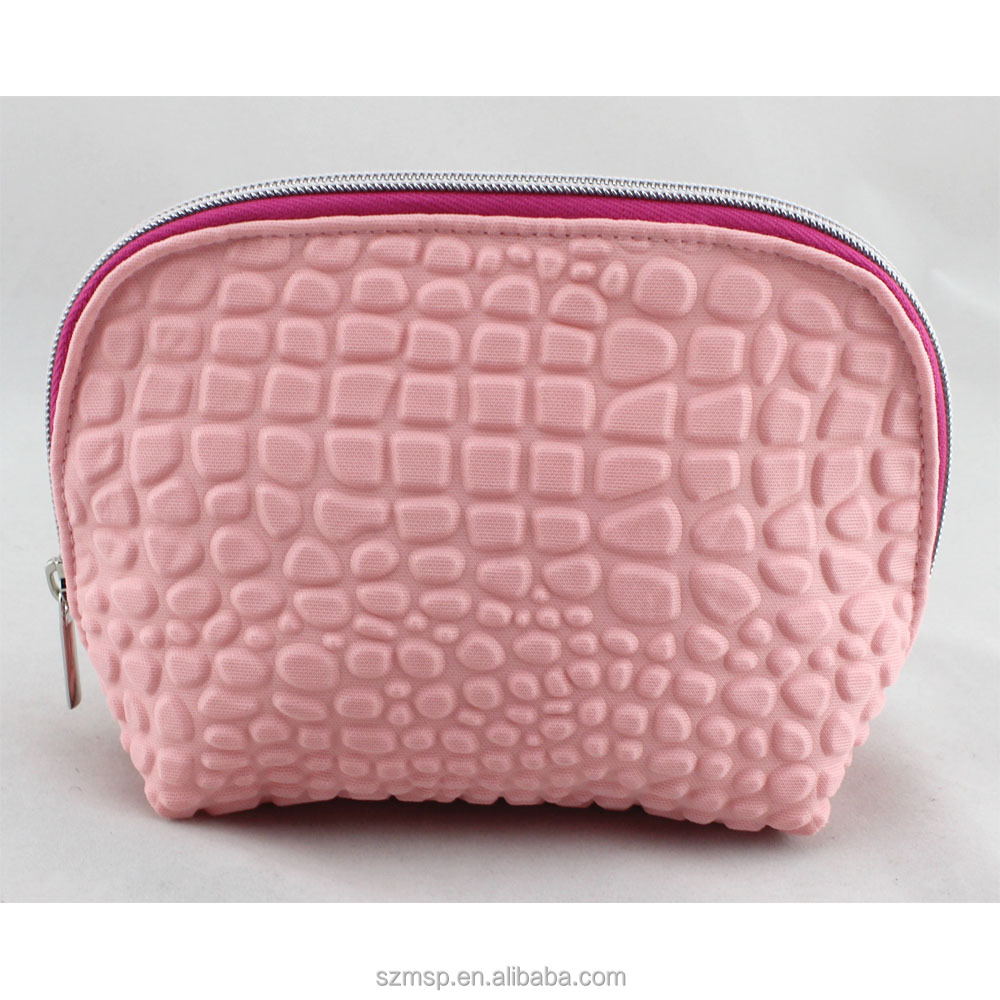 pop-up 3D bubble shell cosmetic bag <strong>travel</strong> make up pouch baby pink croco fake soft feeling storage bag