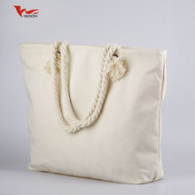 Custom Printed Blank Cotton Canvas Wholesale Handle Rope Tote Bag