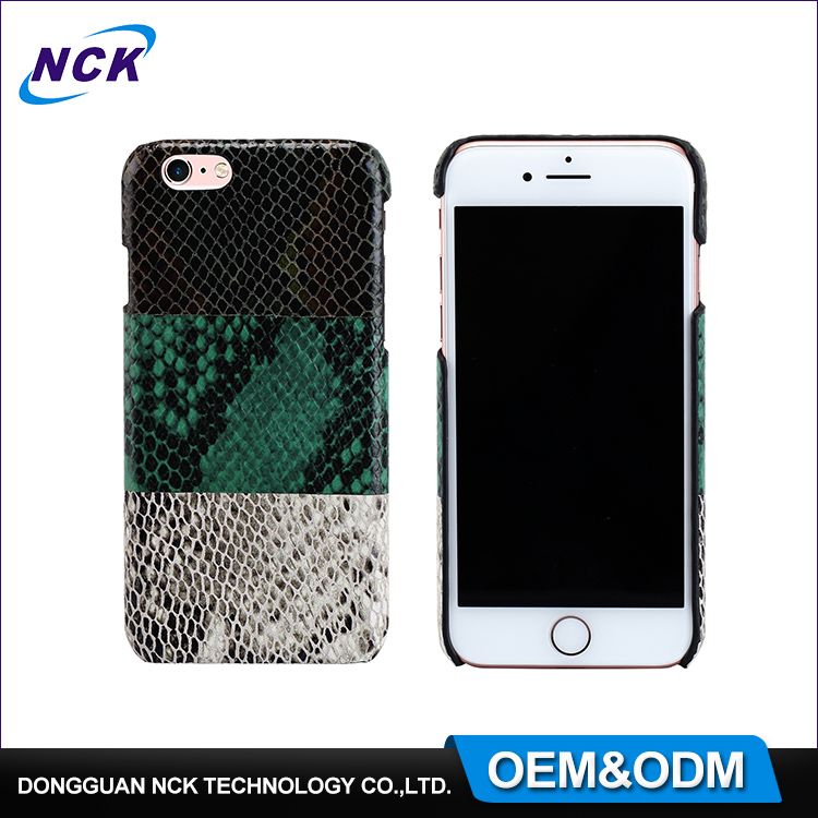 2017 New custom free sample split joint snakeskin leather phone cover case for iphone 6 7
