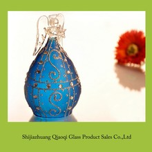 popular delicate design decoratiom crystal blown blue color glass angel