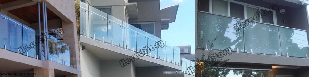 Tempered Glass Balcony Railing / Handrail / Stainless Steel Balustrade/ Glass Deck Railing Lowes