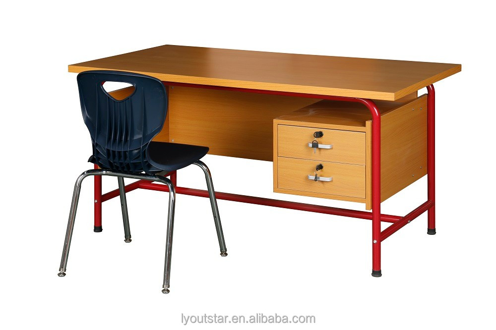 High quality KD wood office table with locking drawers