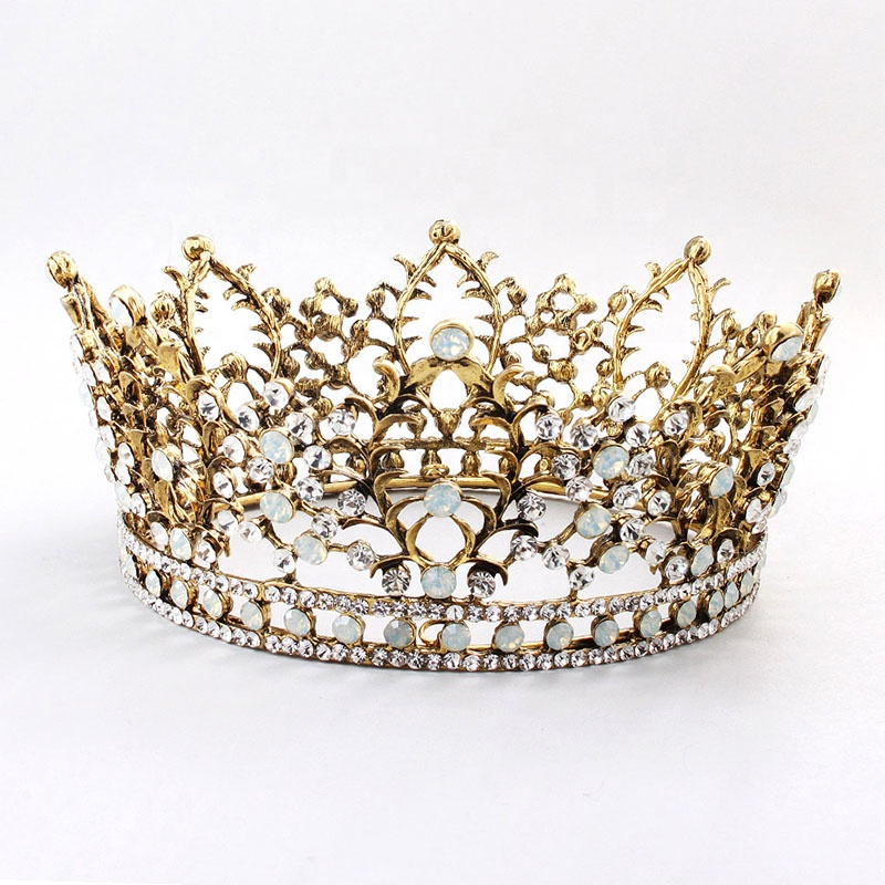 Genya new arrival baroque luxury rhinestone circular <strong>crown</strong> for bridal hair jewelry silver diadem tiaras wedding hair accessories