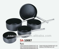 High Quality Pressed Hard Anodized Aluminium Saucepan and Frypan cookware/kitchenware sets with non stick and pouring lips