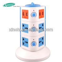 electrical multi vertical socket USB outlet 4-Ports USB Travel Charger AC Adapter