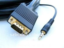 20 Meter VGA Cable with Audio (High Shield with Ferrite Cores) Male to Male with 3.5mm Male Audio Connectors