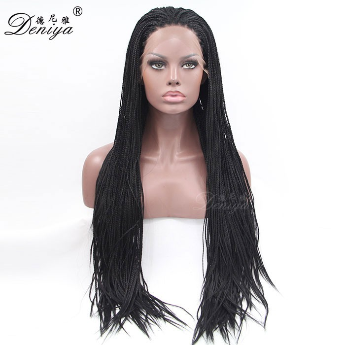 African american synthetic braided lace wig lace front box braid wig